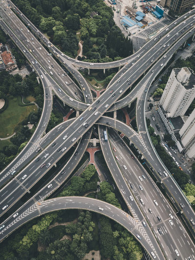 Aerial view of elevated road in city