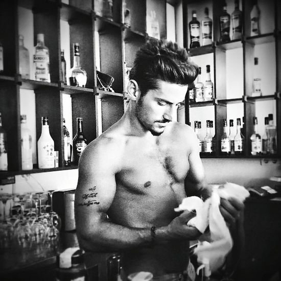 Working in the Bar Bodrum, Turkey Barmen Body & Fitness Summer Black And White