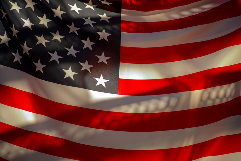 USA flag Patriotism Red Flag Shape No People Striped Pattern Backgrounds Close-up Full Frame Star Shape White Color Textile Indoors  Design Metal
