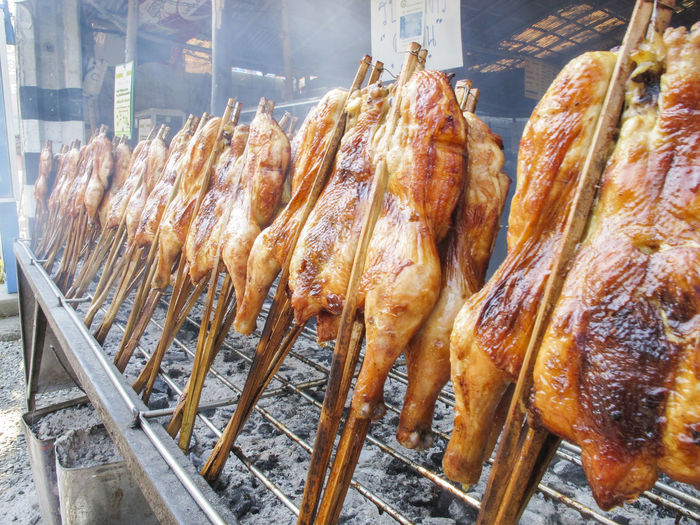 Close-Up Of Chicken Skewers For Sale On Street