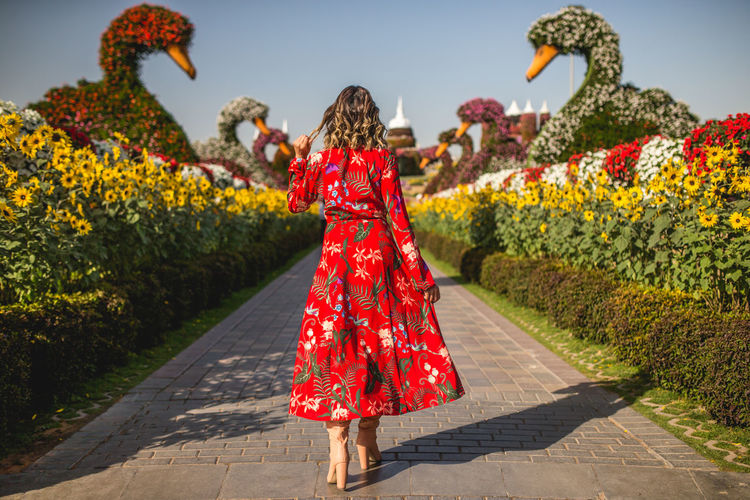 Rear view of woman in red dress walking on footpath amidst flowering plants in park
