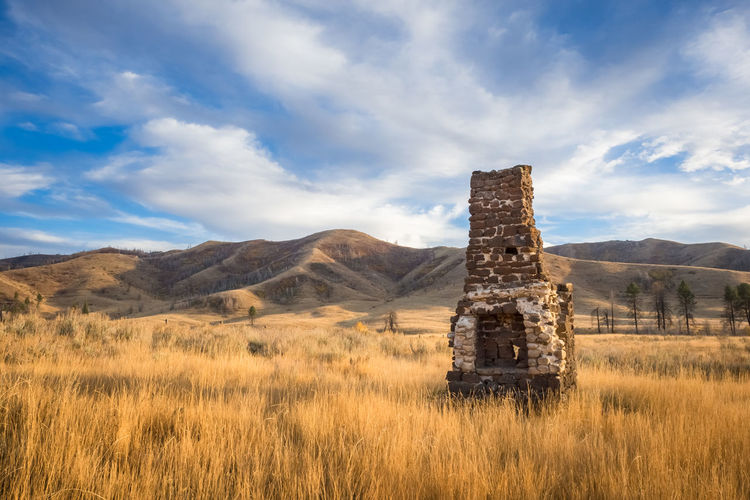 Happy little hearth in Prairie, Idaho. Chimney Cloud - Sky Day Desert Fireplace Hearth History Homestead Horizontal Idaho Landscape Mountain Nature No People Outdoors Prairie Idaho Remote Scenics Sky Travel Destinations