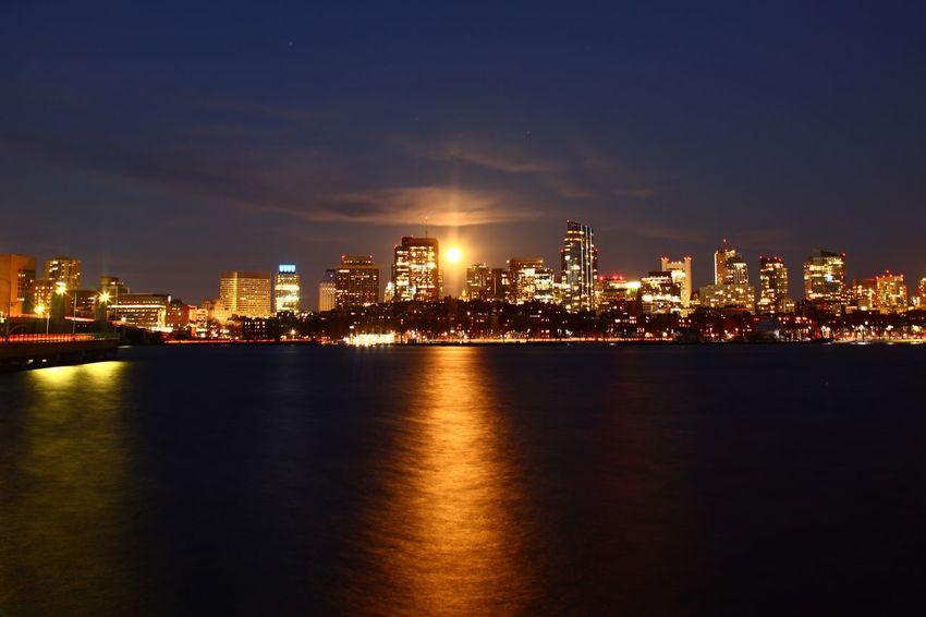 Moonrise Moonrise Photography Boston Skyline Architecture Building Exterior Illuminated Water Built Structure Sky City