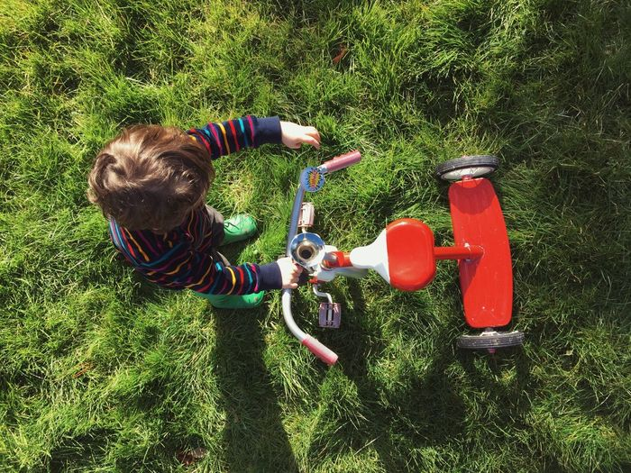 High Angle View Of Boy Playing With Tricycle On Grassy Field