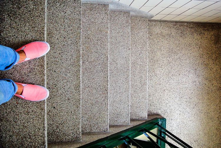Stairs Staircase Steps Step Feet Walking Looking Down Building Stair Stairways Walk Foot Low Section Human Leg Shoe One Person Standing Human Foot Real People High Angle View Adult People Railing Personal Perspective Stairway Human Feet Emergency Exit Lifestyles Leisure Activity Steps And Staircases