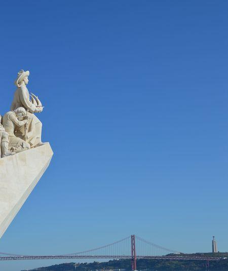 Cristo Rei (Portugal) Lisboa Portugal Lisbon - Portugal Ponte 25 De Abril View Architecture Blue Bridge - Man Made Structure Clear Sky Outdoors Padrão Dos Descobrimentos River Sculpture
