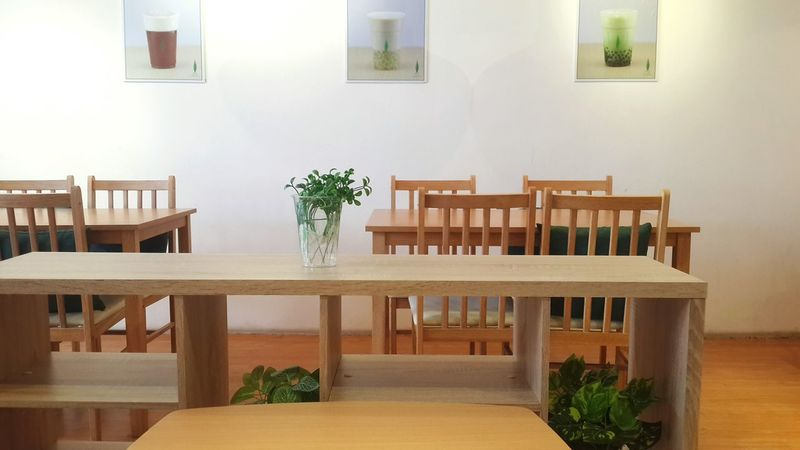 Chair Architecture Table Built Structure No People Day Indoors  Home Showcase Interior Beauty Photography Photographer The Week On EyeEm EyeEm Selects Cafe Tables And Chairs Tables Plants Bubble Tea Tea Traveling Japanese  Leaves Green Interior Design Interior