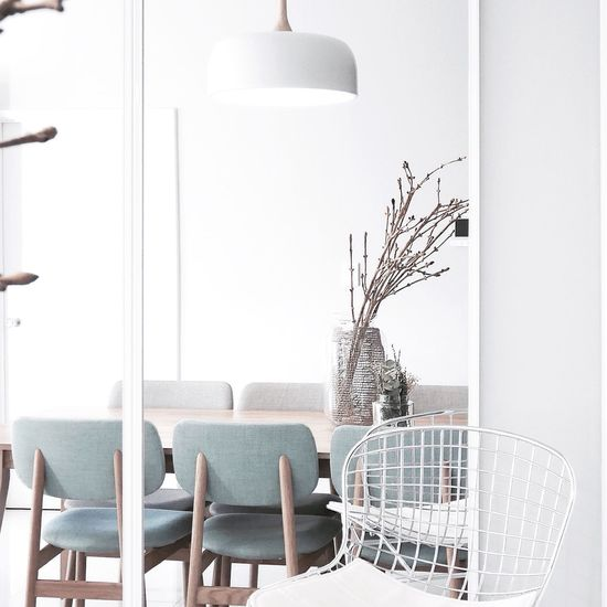 Done DIY for our dining area! Put 2.1m mirror on the wall to make our Dining Room looks more bigger f✖️t Harrybertoia Stool Interior Interior Style Interior Decorating Home Home Sweet Home Scandinavia Interiorstyling Followme Home Decor