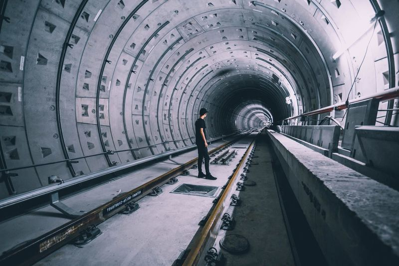 Tunnel One Person Full Length Built Structure Architecture Indoors  Standing Men Day Adult People
