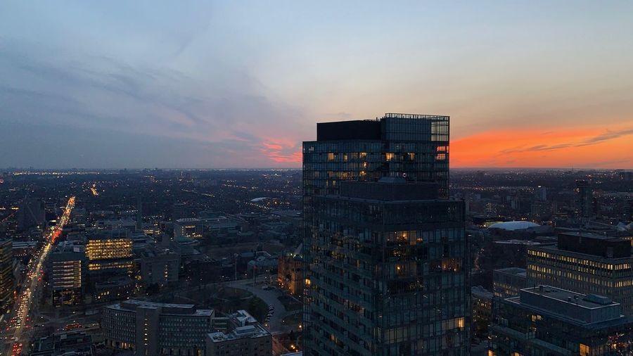 April sunset Lights Downtown Canada Toronto Canada April Skyline Sunset Built Structure Building Exterior Building Dusk Cityscape