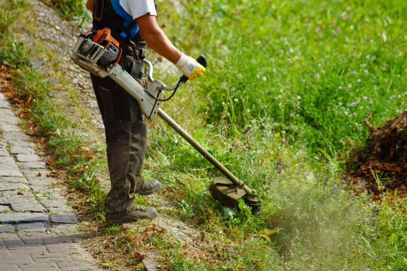 Low section man cutting grass with strimmer in yard