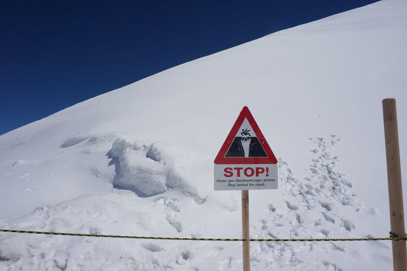 Road sign on snow covered landscape against clear sky