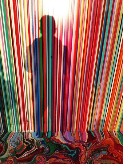 Giardini Biennale 2017 Rainbowpower Swatchpavilion Multi Colored Textile Striped Pattern Full Frame Indoors  Variation