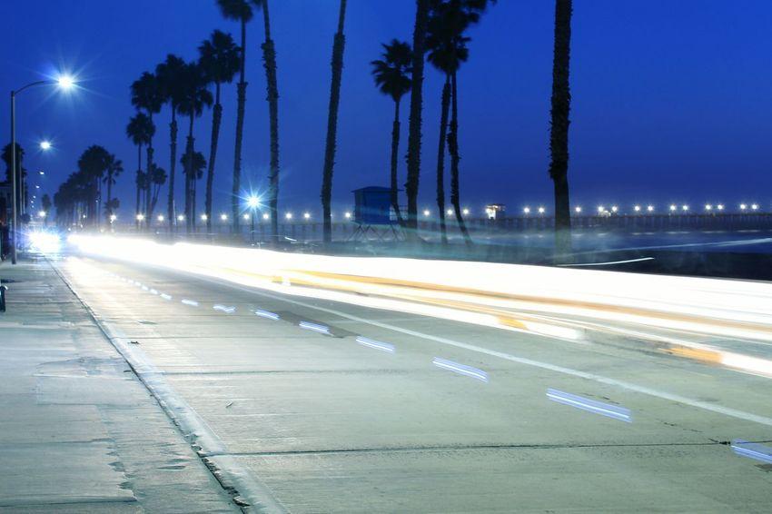 Night Illuminated Transportation Road Speed Street City Outdoors No People Oceanside, Ca Oceanside