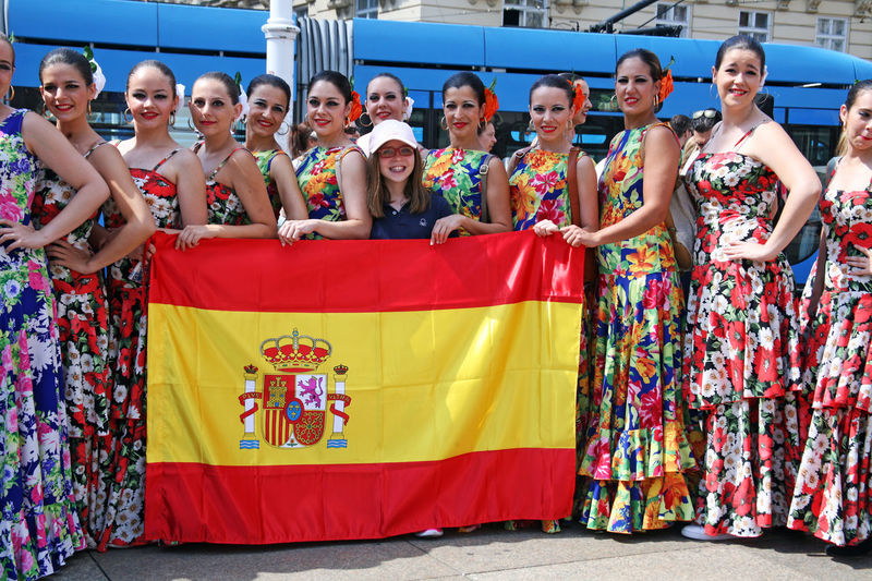 Spain,Fuensalido,Toledo,Compania De Danza 'Nuevo Amanecer Angel Martinez' Spanish Flag Zagreb, Croatia Before Performing  Culture Dancer Day Europe Flag Folklore Girls History International Folklore Festival Music National Outdoors People Performance Portrait Show Smiling Summer Traditional Women Youth