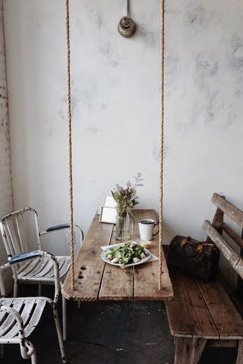 Indoors  No People Plant Table Potted Plant Seat Wall - Building Feature