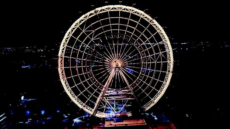 -Orlando- Nighttime Drone At Night Drone  Mavic Pro Night Arts Culture And Entertainment Amusement Park Illuminated Amusement Park Ride Ferris Wheel Sky Glowing Geometric Shape Architecture Spinning Carnival