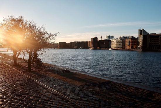 Copenhagen Harbour Front Sunset Sunlight Railroad Track Water Sea Day Outdoors Cityscape