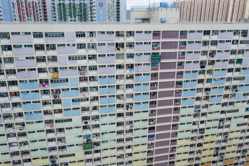 High angle view of residential building