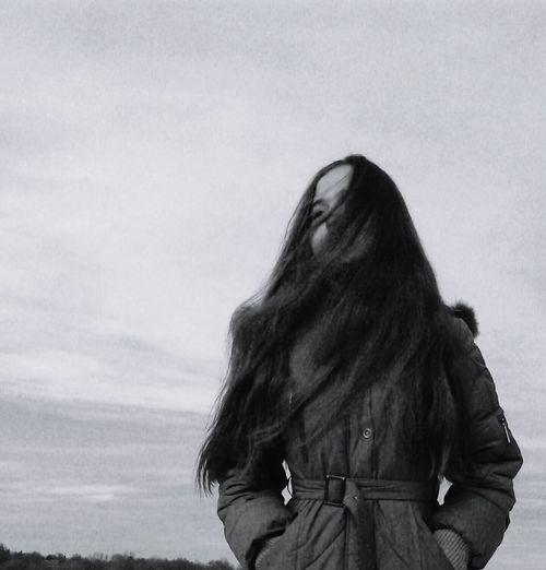 Teenager Teengirl Long Hair People One Person Blackandwhite Wintertime Warm Clothing Portrait Longhair Walkingaround Lookingthrow