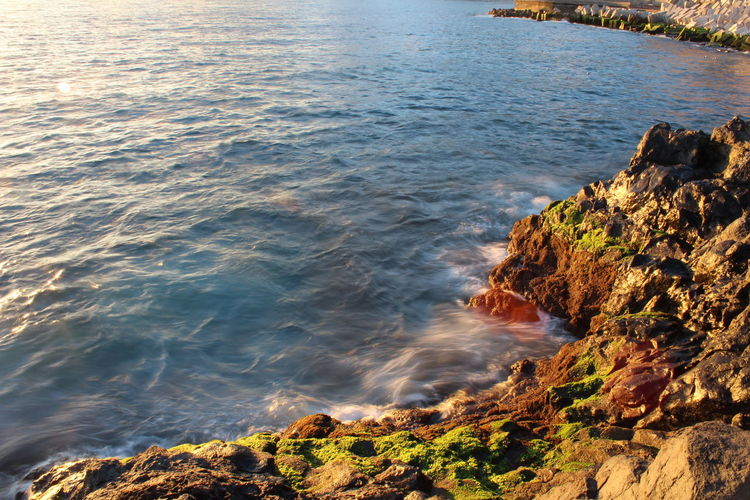 sunset at the sea in Madeira. Beauty In Nature Day High Angle View Nature No People Outdoors Rock - Object Scenics Sea Shutter Speed Sunset Travel Travel Photography Water