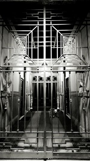 Indoors  Architecture Geometric Shape Diminishing Perspective No People Gate A Frame Within A Frame Frame Nightphotography Night Lights Night Photography Blackandwhite Black And White Black & White Narrow Entrance Mission Mystery Misterious Monochrome Photography