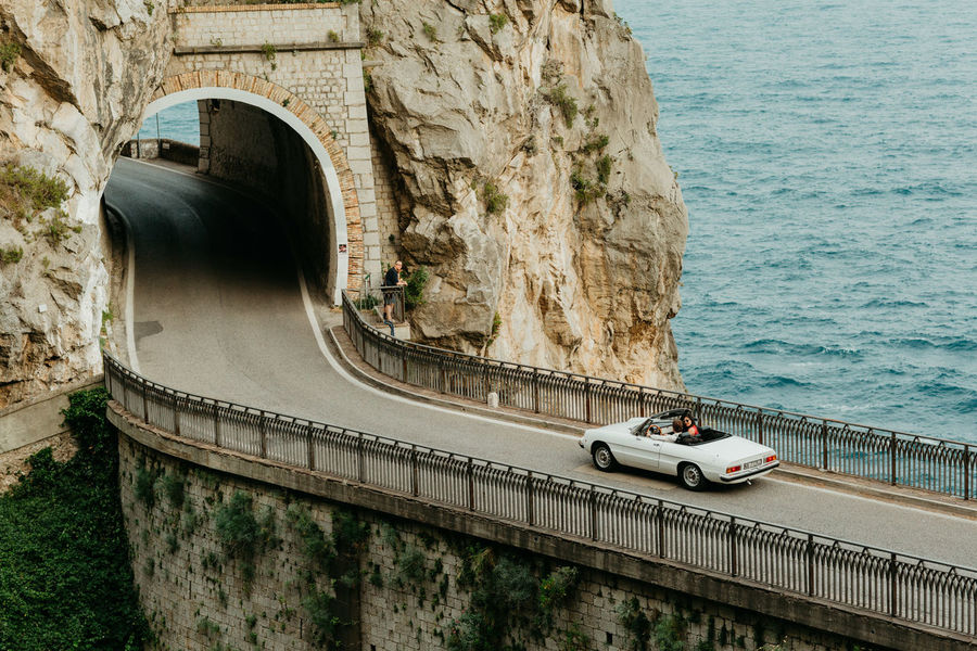 Blue Ocean Amalfi Coast Sea Dream Vacation Amalfi Italy Costa Amalfitana Bycar White Car Alfa Romeo On The Road Tunnel Bridge First Eyeem Photo