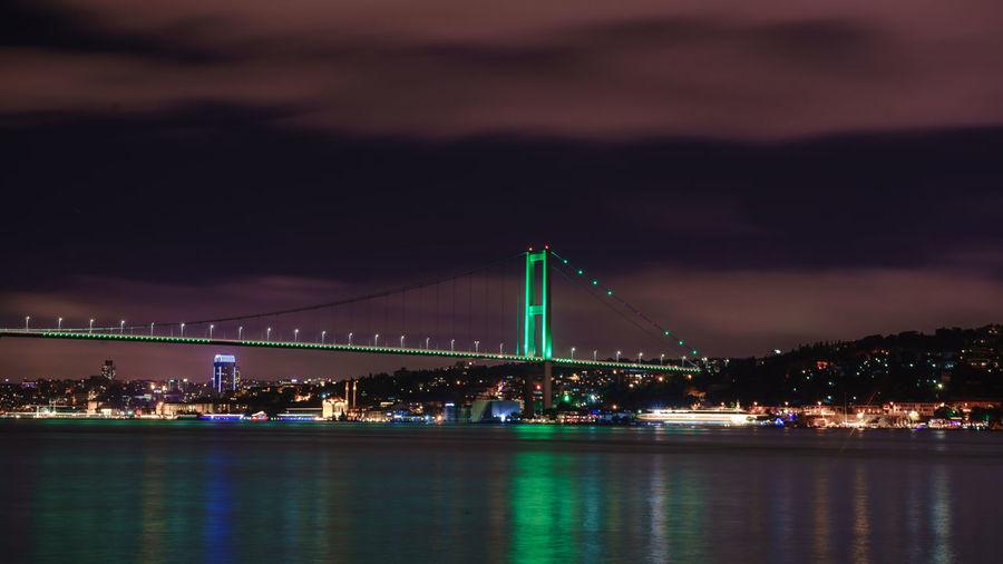 Bosphorus bridge over river against sky at night
