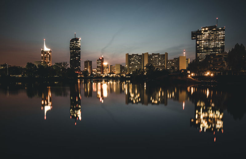 Building Exterior Architecture Built Structure Reflection City Illuminated Water Building Waterfront Sky Night Office Building Exterior Urban Skyline Tall - High Nature Landscape Skyscraper Tower No People Modern Cityscape Outdoors Financial District  Spire  Vienna City Austria Danube River Lake Kaiserwasser My Best Photo The Architect - 2019 EyeEm Awards