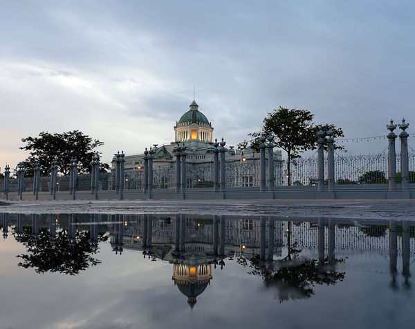 After The Rain Bangkok Parliament Building Architecture Building Exterior Dome Dusk In The City Italian Architecture No People Parliament Puddle Of Rain Puddle Of Water Reflection Sky Thronehall Tourism Travel Destinations Water