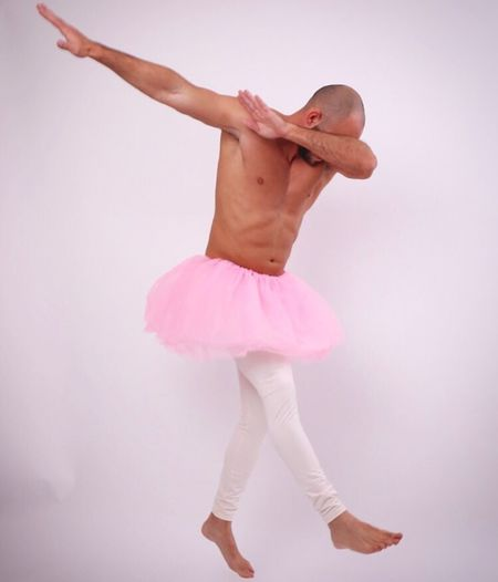 Purim Costume Ballerina Ballet Dancer Funny People Studio Shot One Person Pink Color Tutu Ballet Performance White Background One Man Only EyeEm Gallery Eye4photography  EyeEm Best Shots Full Length People Photography
