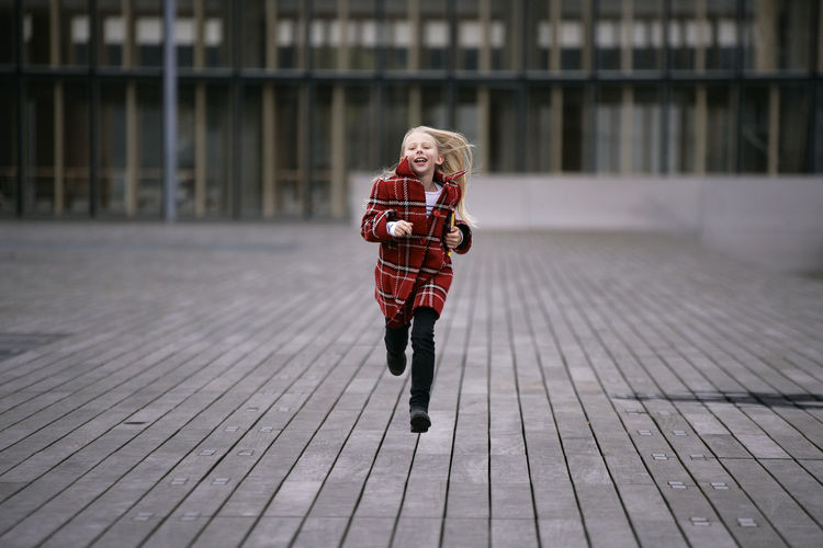 Girls Child Warm Clothing Casual Clothing Children Only Elementary Age Person Red Focus On Foreground Day Beauty In Nature Woman Long Hair Run Jumping Shot Runaway Paris France Speed Wind Blond Hair Blonde Girl Neighborhood Map Live For The Story