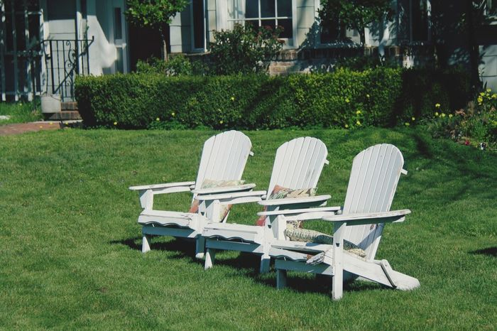 Rural America Front Yard Chair Grass Outdoors Empty Green Color Lawn Absence No People