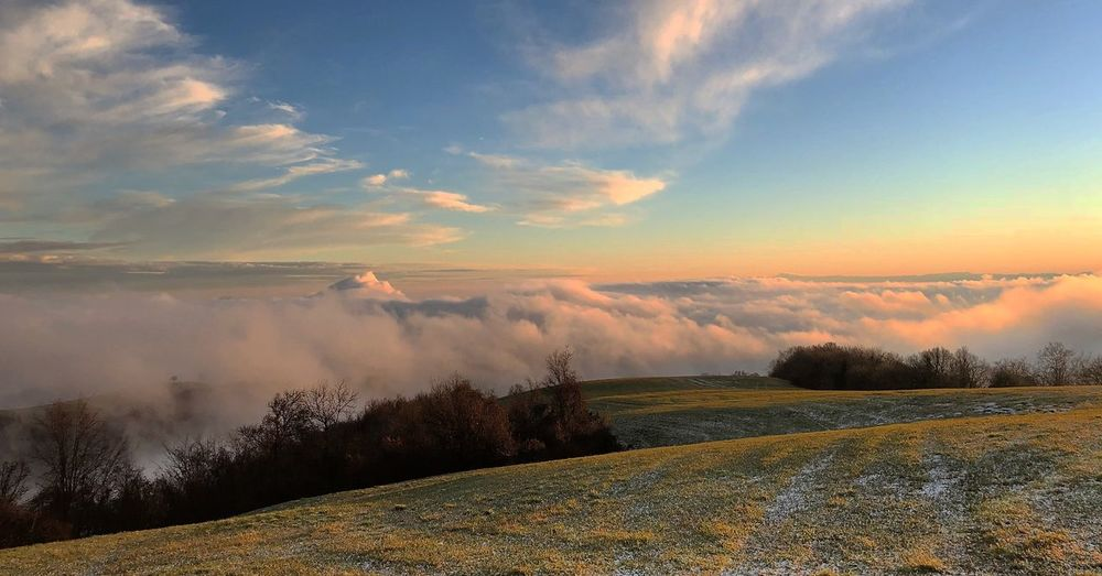 NYE Nature Tranquil Scene Beauty In Nature Scenics Landscape Sky Tranquility Outdoors Cold Temperature Cloud - Sky Snow Sunset