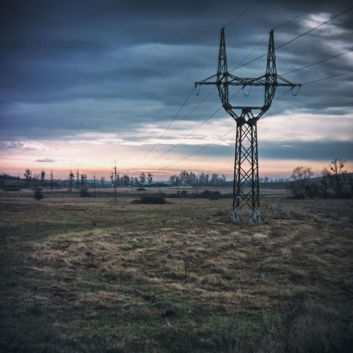 countryside (holga lens) Holga Landscape_Collection Beauty In Nature Cable Cloud - Sky Day Electricity  Electricity Pylon Field Holgalens Landscape Landscape_photography Nature No People Outdoors Sky Sunset Tree