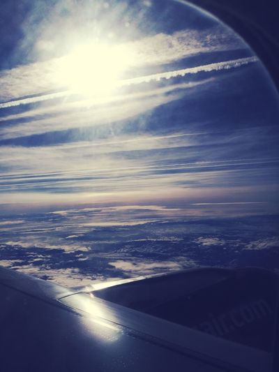 Flying Astronomy Sunset Airplane Aerial View Sunlight Sky Cloud - Sky Close-up Airplane Wing Calm Aeroplane Aircraft Flight Airways Sky Only Horizon Over Water Runway