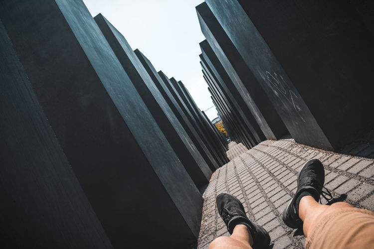 Low section of man at memorial to the murdered jews of europe