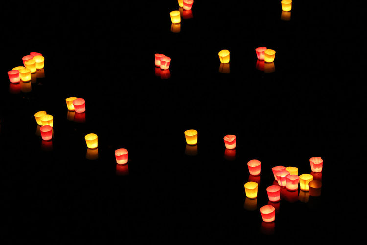 #schwoerwochenende Black Background Candles Danube Donau Heimat Red Romantic Ulm Candle Light Dark Floating Floating On Water Glowing Illuminated Lichterserenade Multi Colored Night No People Schwoermontag Summer Ulma Ulmerschachteln Yellow