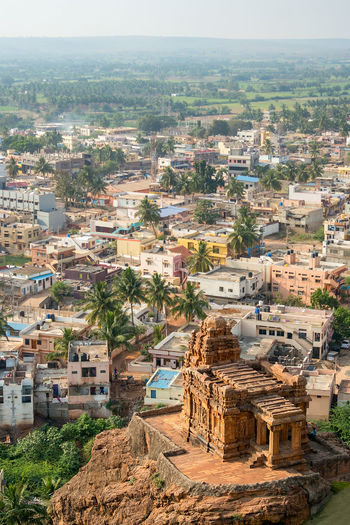 High above view of the flat roof houses and temple of Badami, India. Architecture Building Exterior Built Structure City Building Residential District Day Nature Crowd Cityscape Town Sky High Angle View Crowded Community Outdoors Old History TOWNSCAPE Ancient Civilization Badami India