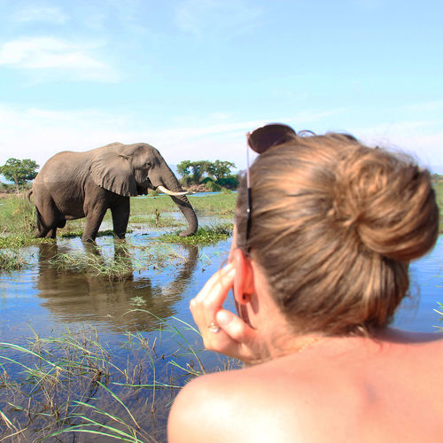 Young woman looking at elephant in water against sky