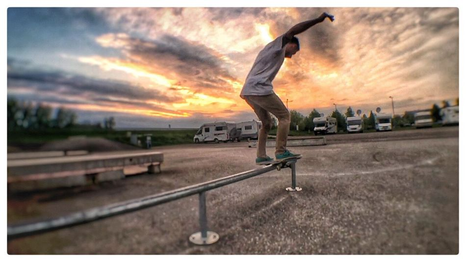 Cloud - Sky One Person Skateboard Skill  Balance Real People