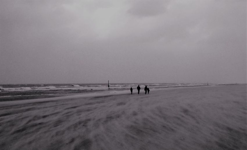 Beach Beauty In Nature Cloud - Sky Cold Temperature Day Family Life Horizon Over Water La Panne Belgique Nature Outdoors People Real People Sand Sea Sky Stormy Weather Wave Wind Winter