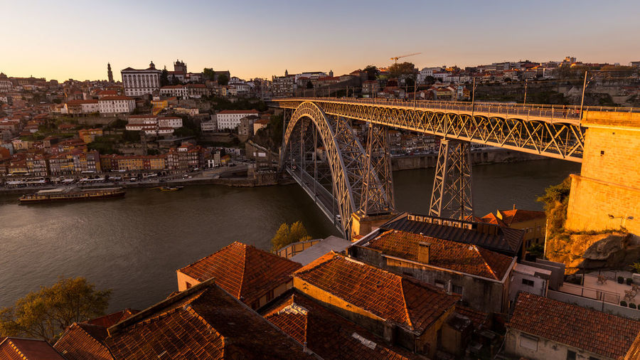 High angle view of dom luis bridge at sunset