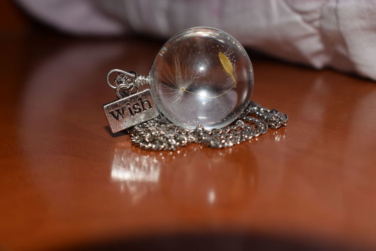 Wish Reflection Sphere Necklace Dandelion Wooden Surface Cute Close-up First Eyeem Photo Photography