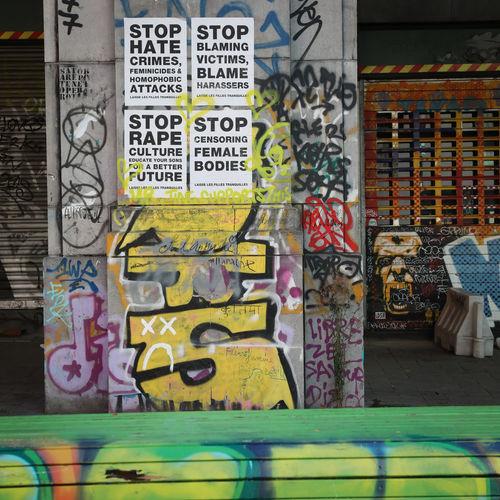 Graffiti on wall of store