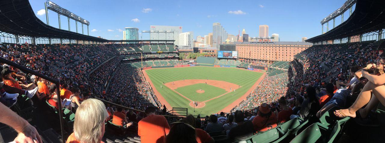 Camden Yards Baseball Orioles Baltimore Crowd Large Group Of People Group Of People Real People Stadium Sport Sky