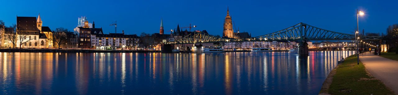 Panoramic View Of Eiserner Steg Over Main River With Frankfurt Cathedral Against Sky
