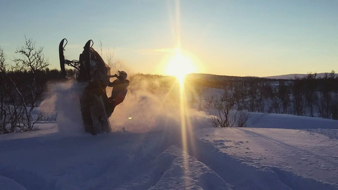 Winter Snow Lens Flare Nature Outdoors Sunset Silhouette Clear Sky Snow ❄ Snowmobile