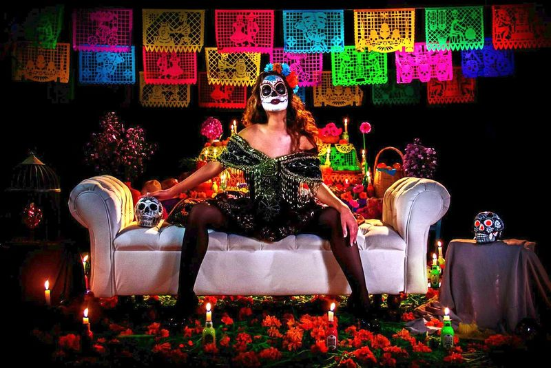 Multi Colored Sitting Adults Only Glamour Celebration Women Dıa De Muertos Fashion Photography Catrina Catrinamakeup Fashion People Women Around The World