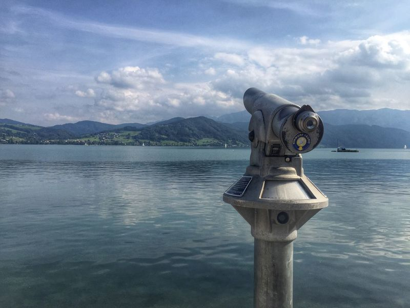 Attersee Mountain Coin-operated Binoculars Water Mountain Range Coin Operated Scenics Tranquil Scene Sky Non-urban Scene Outdoors Binoculars Lake Lake View Austria Wanderlust Travel Nature Landscape
